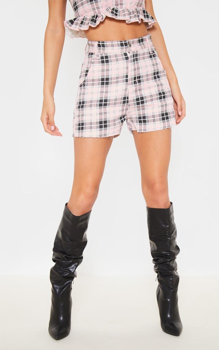 Pink Checked Denim Shorts 2