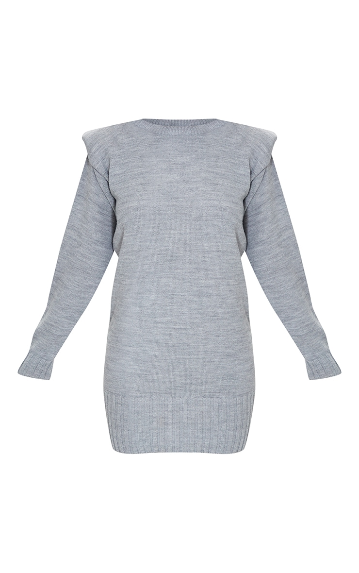 Grey Shoulder Pad Knitted Sweater Dress 5