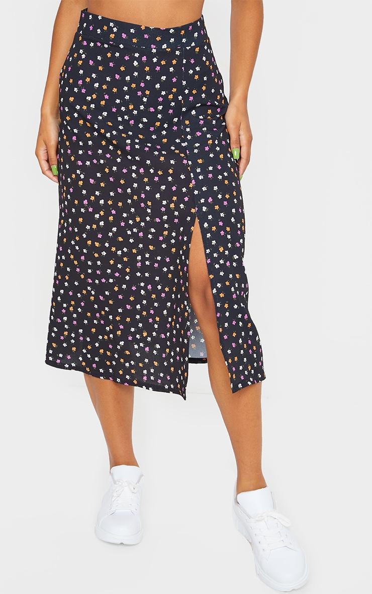 Black Floaty Ditsy Floral Print Midi Skirt 2