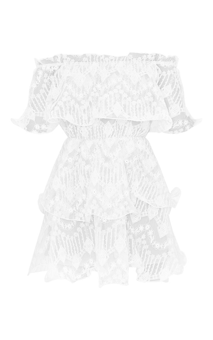 White Lace Bardot Ruffle Tiered Dress 5