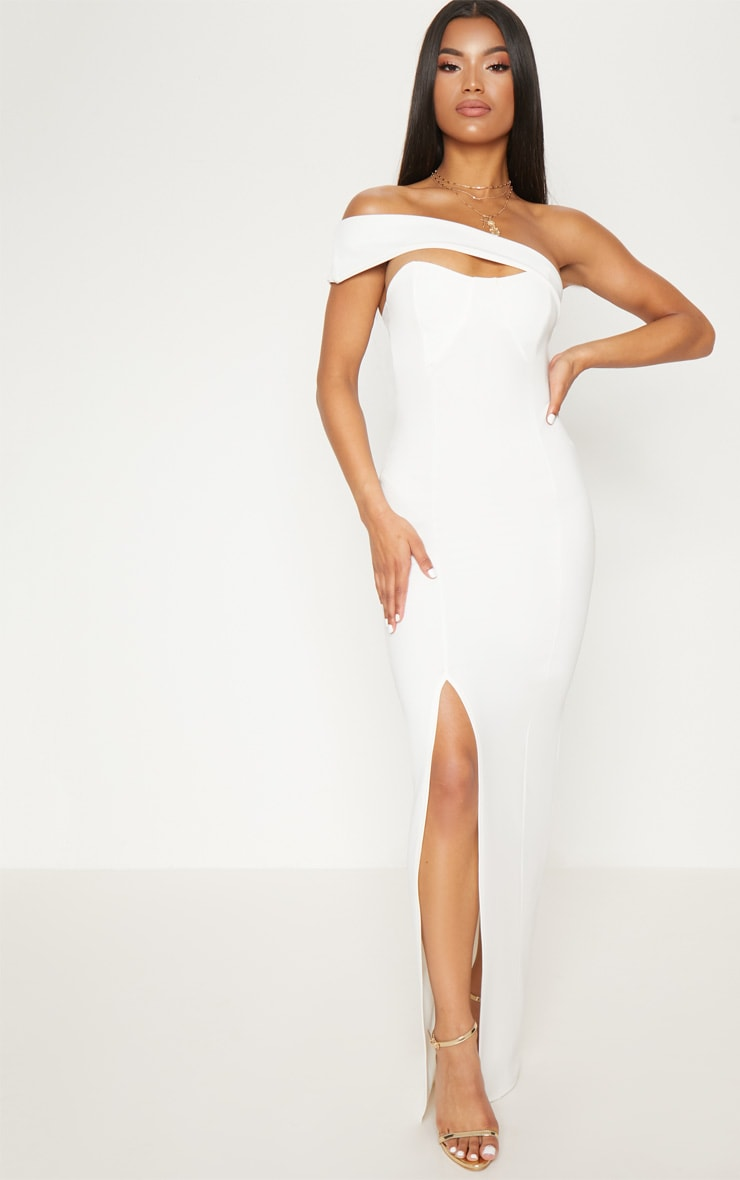 White Cross Strap Detail Maxi Dress 1