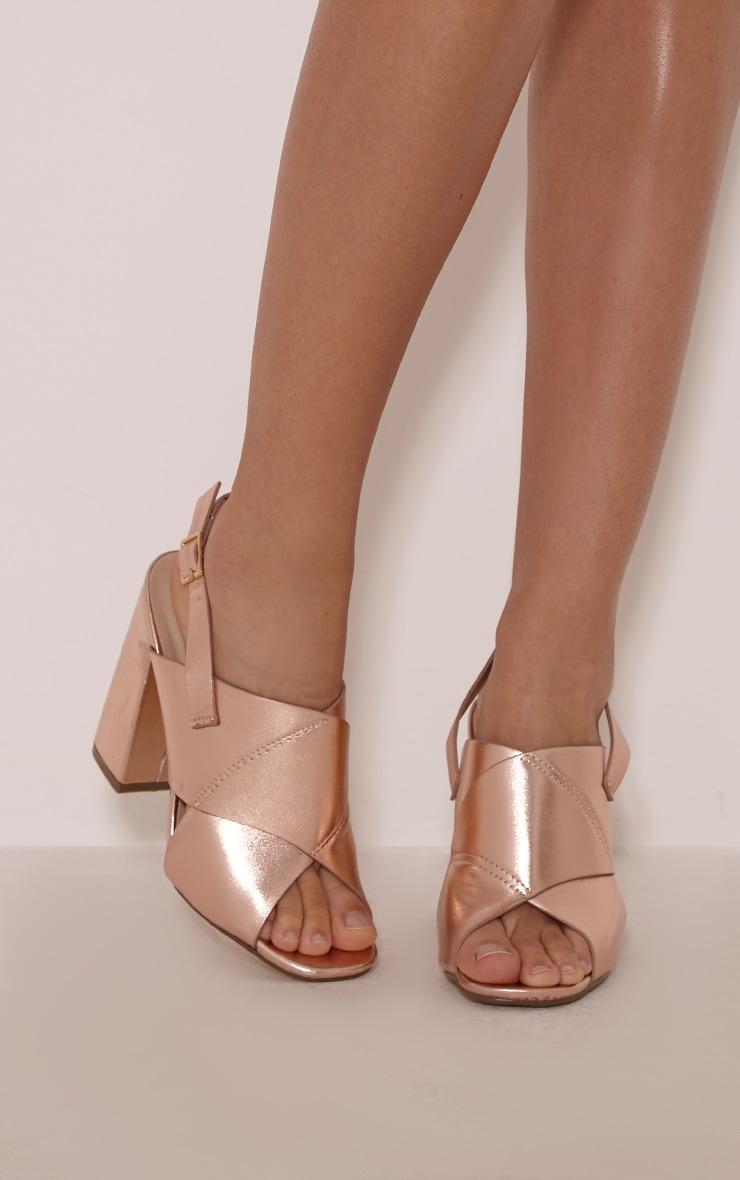 Shanah Rose Gold Metallic Cross Over Heeled Sandals 1