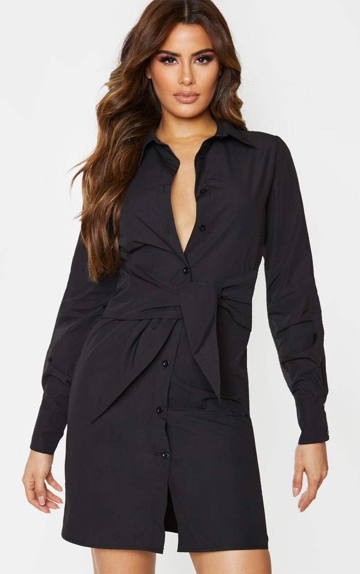 Tall Black Wrap Detail Shirt Dress 1