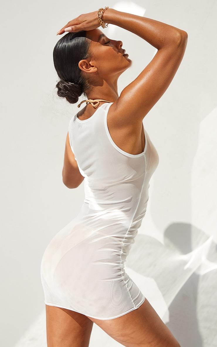 White V Neck Ruched Front Mesh Beach Dress 2