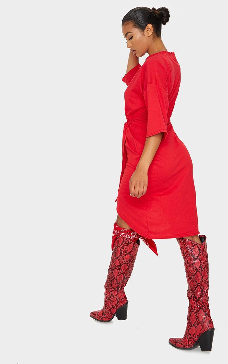 Red Wrap Tie Detail T Shirt Dress 2