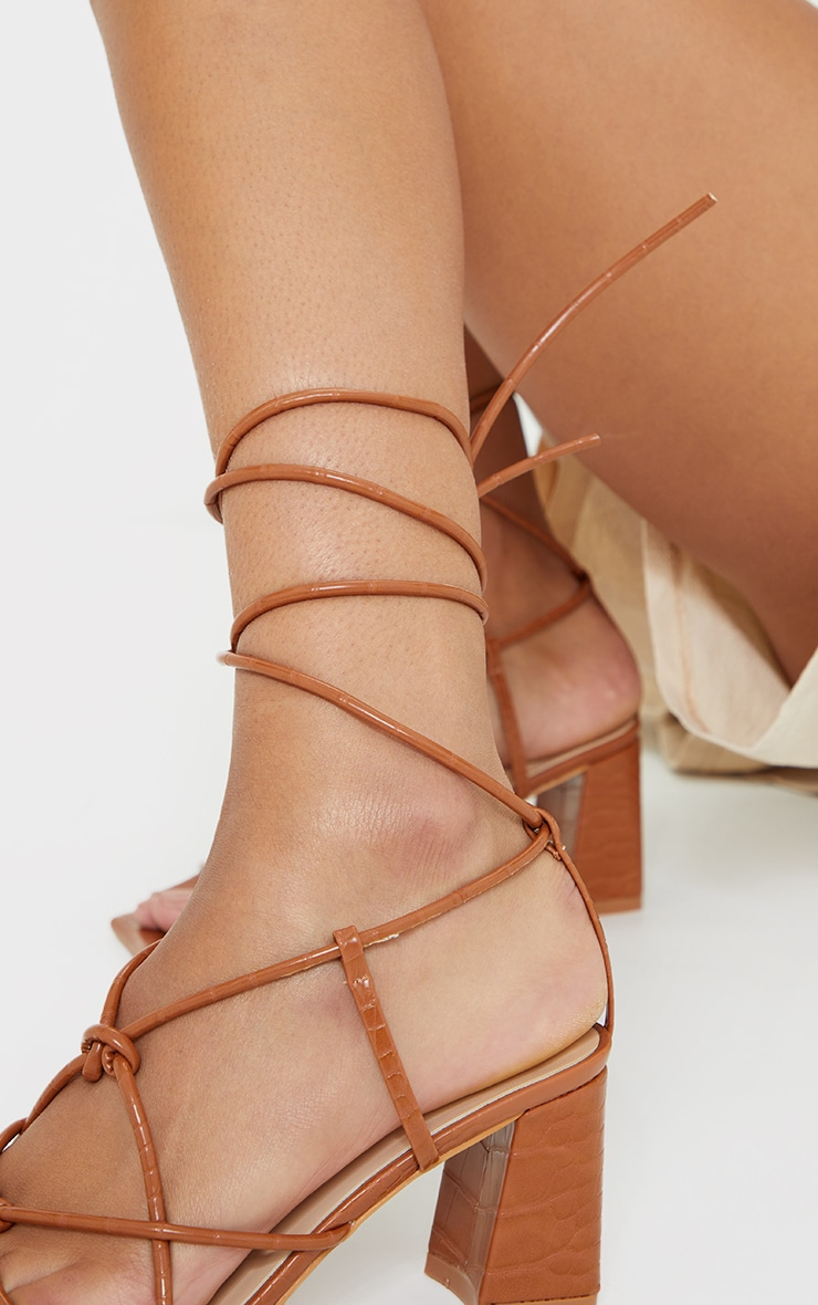 Tan Wide Fit Square Toe Knotted Lace Up Block Sandals 3