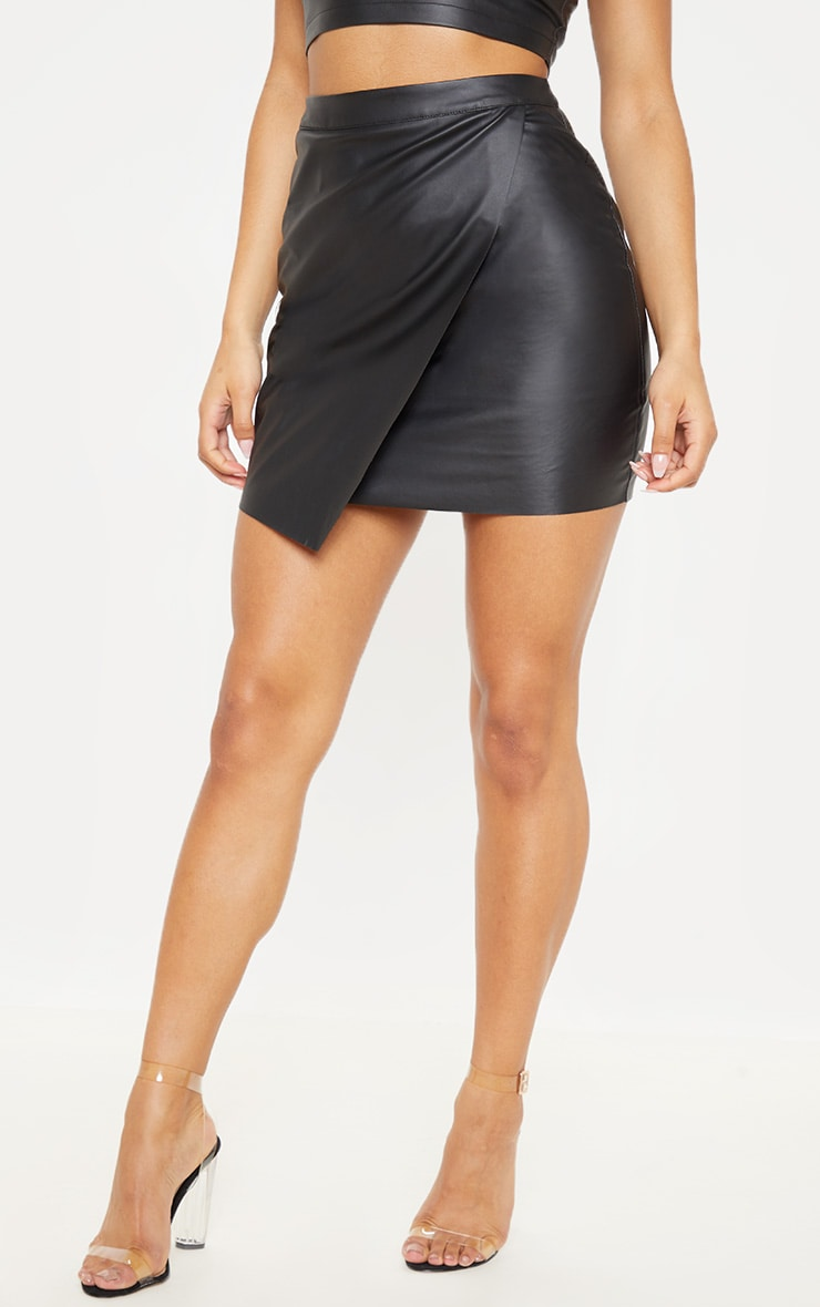 Luisa Black Faux Leather Wrap Mini Skirt  2