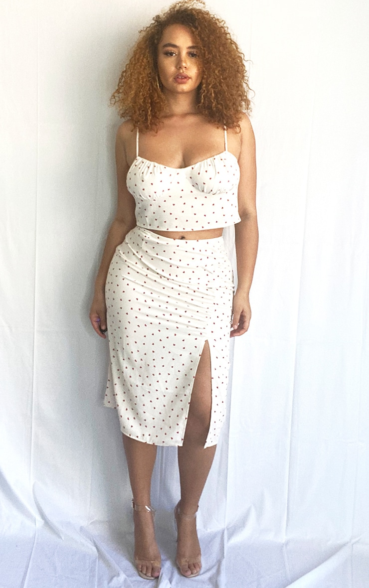 Plus Cream Heart Print Ruched Front Midi Skirt 1