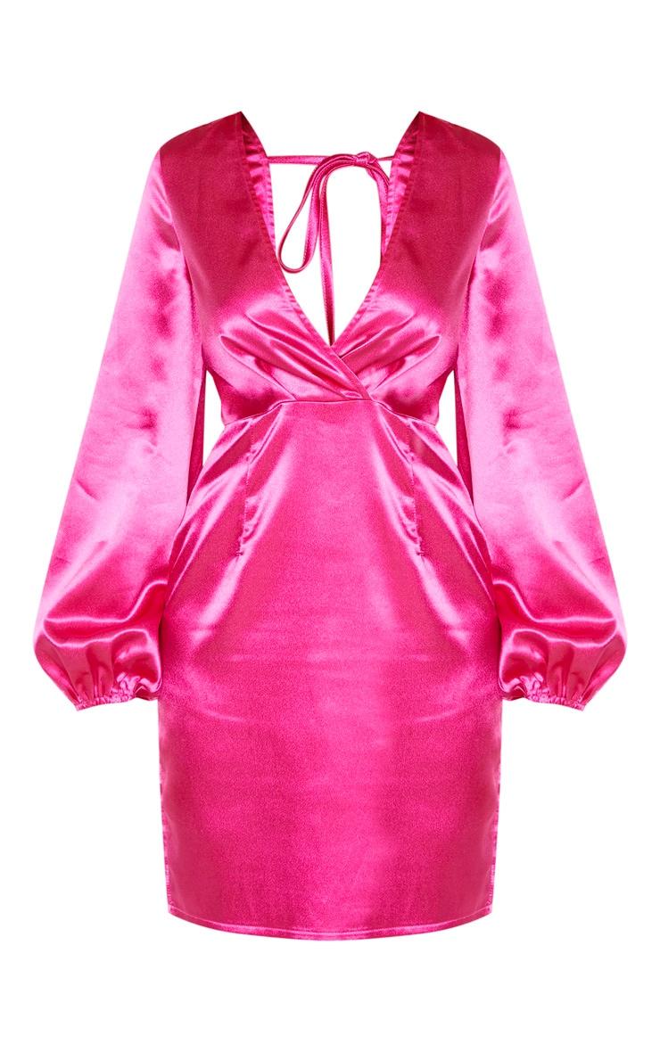 Tall Fucshia Satin Wrap Front Tie Back Detail Dress 3