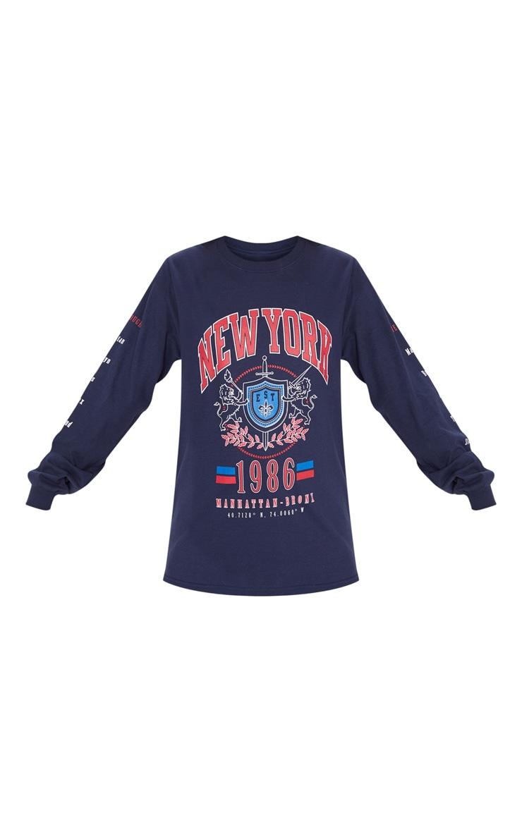 Navy NYC Slogan Printed Long Sleeve T Shirt 3