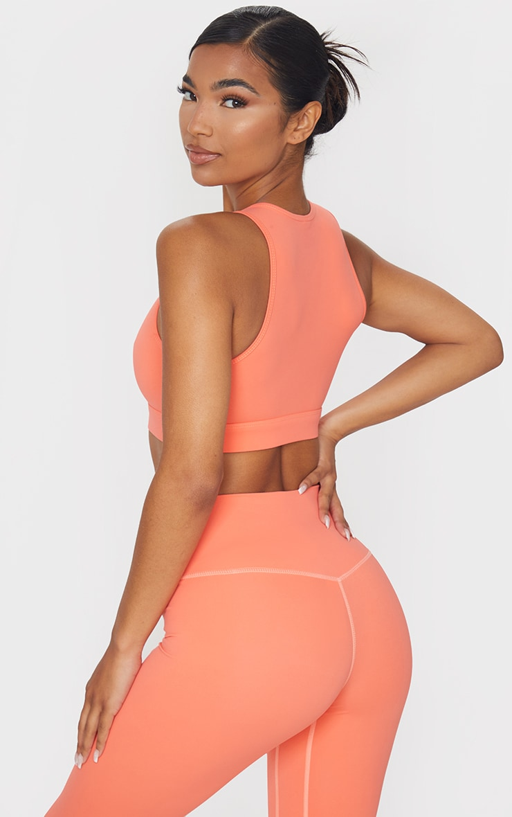PRETTYLITTLETHING Orange Sculpt Luxe Cropped Gym Top 2