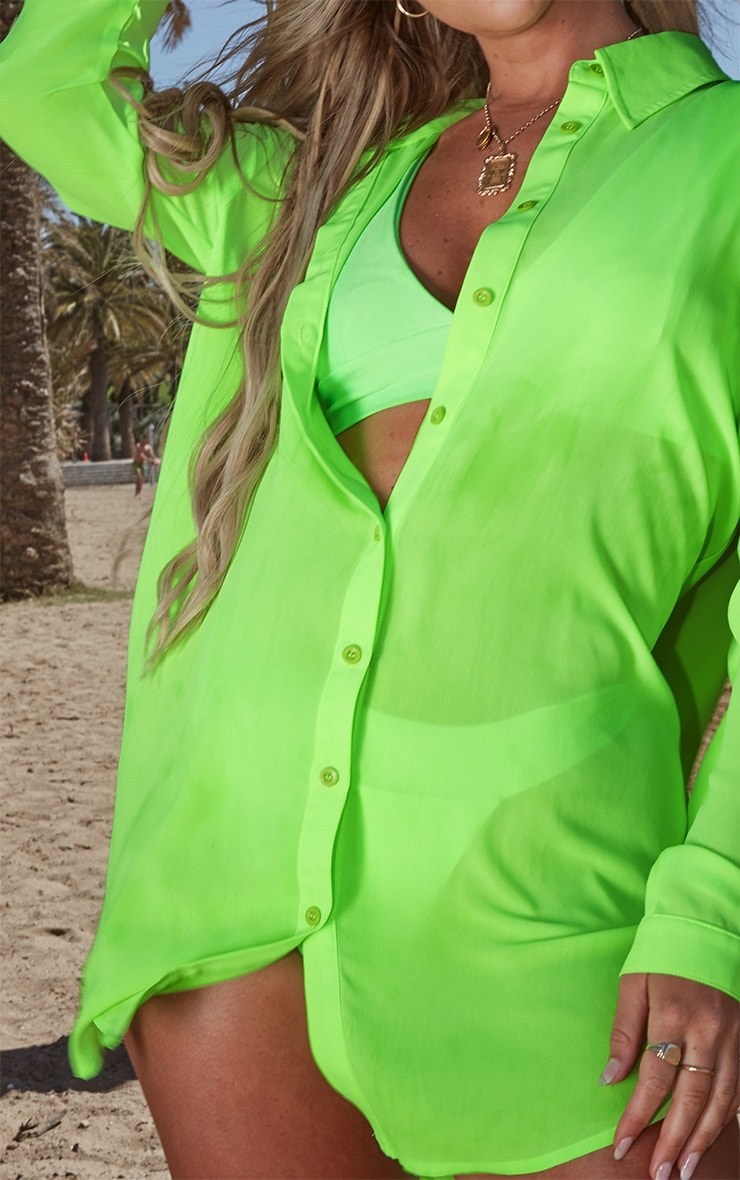 Petite Neon Green Oversized Beach Shirt 5