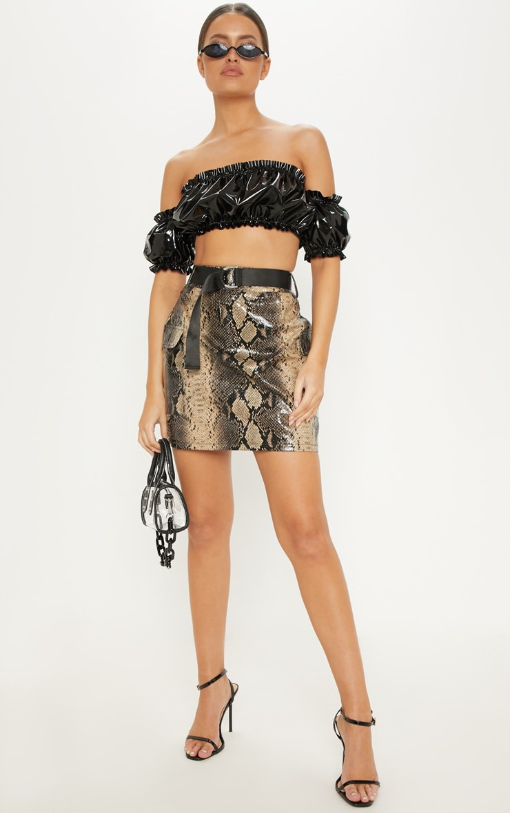 Brown Faux Leather Snakeskin Belted Mini Skirt 5