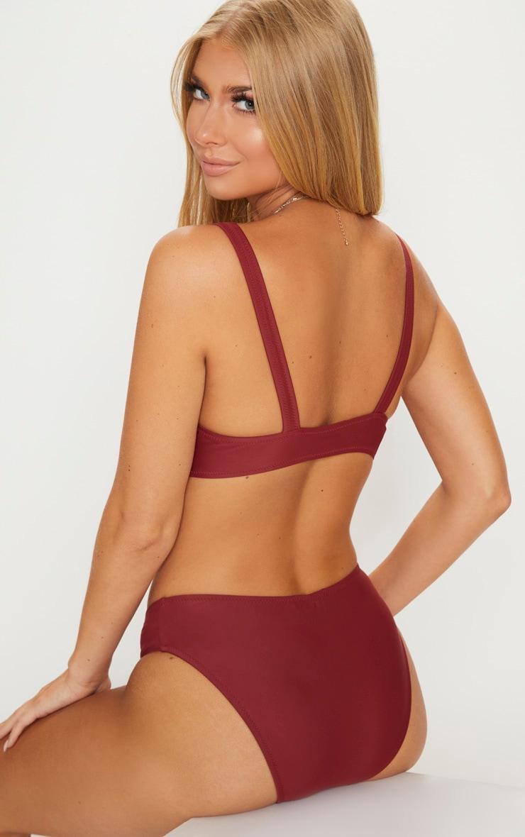 Burgundy Zip Front Plunge Bikini Top 2