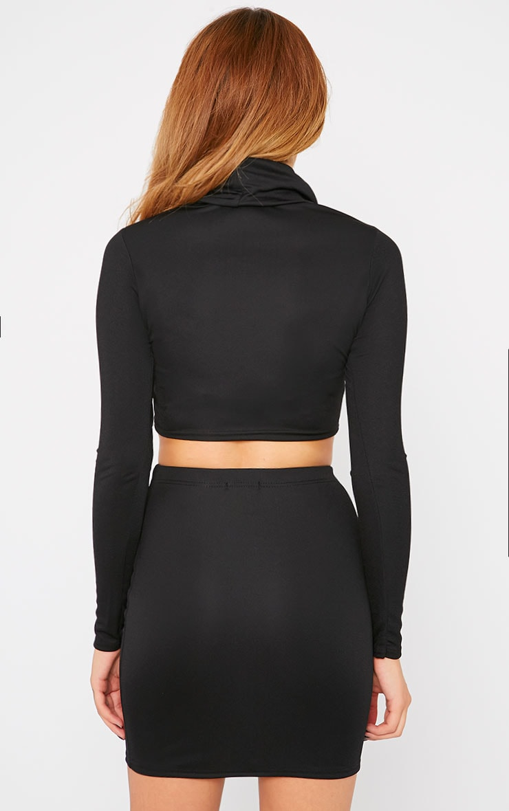 Emilia Black Crepe Roll Neck Crop Top  2