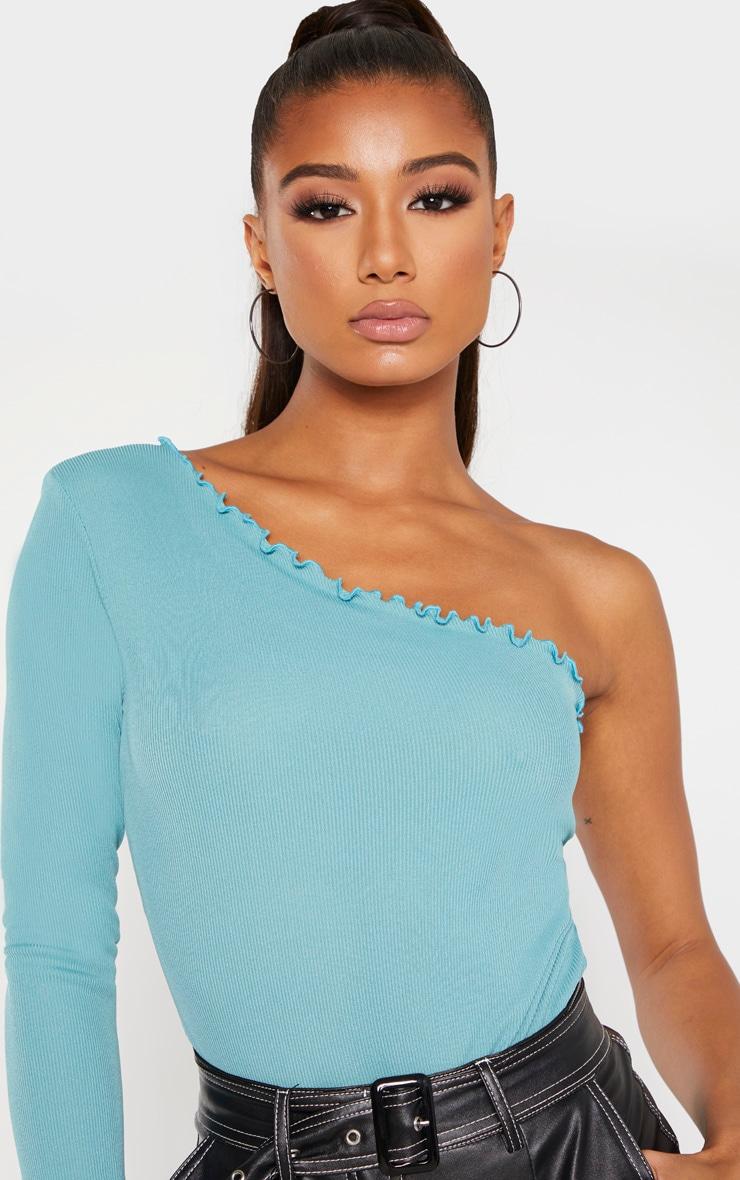 Body côtelé turquoise cendré à petits volants et manche unique 5