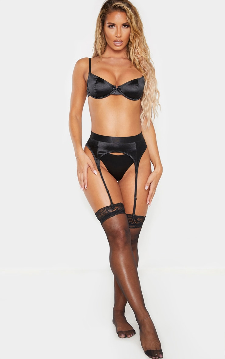 Black Satin Suspender 1