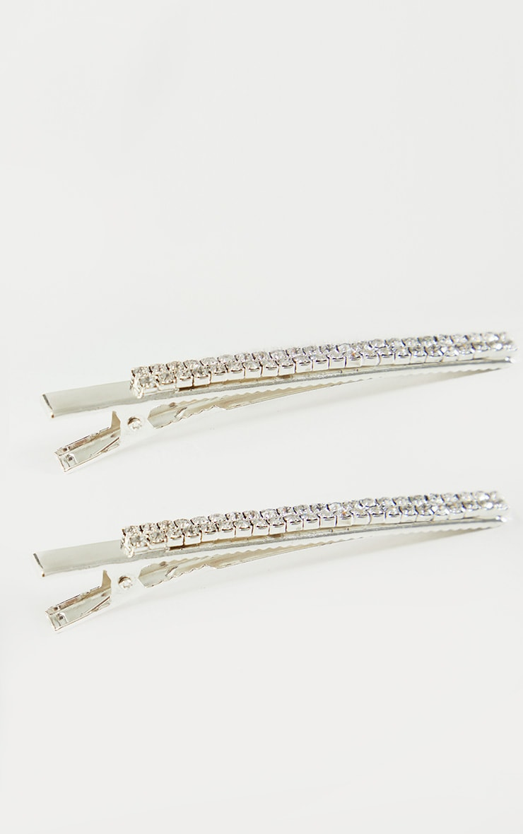 Silver Large Diamante Hair Clips 3