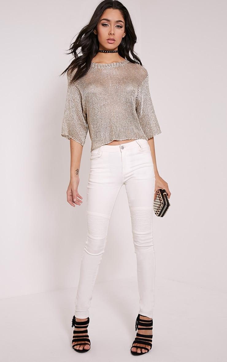 Susannah t-shirt court tricoté métallisé doré 4