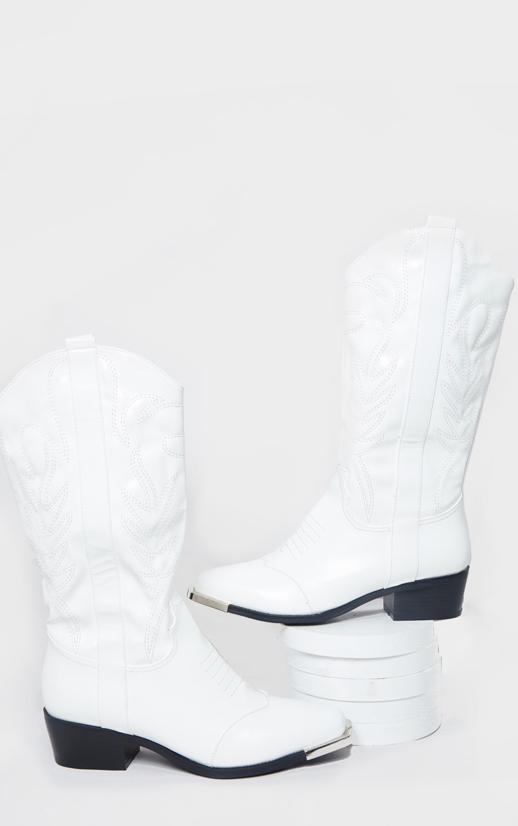 White Contrast Stitch Square Toe Western Calf Boots 3