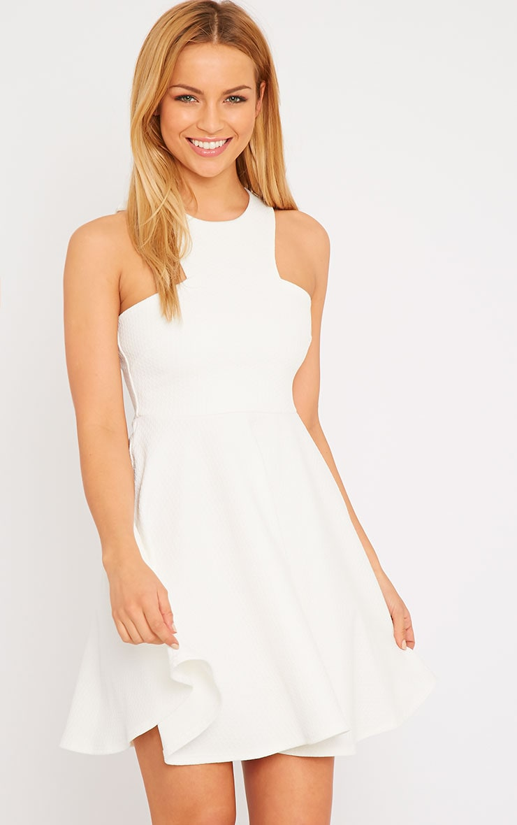 Stacy Cream Textured Racer Neck Skater Dress 1