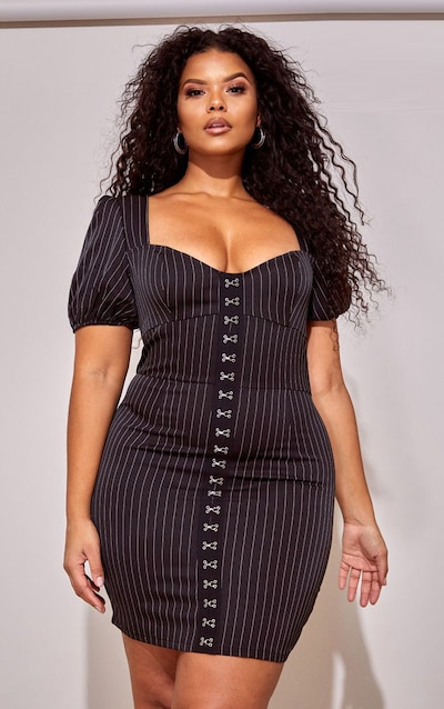 fafe761a Plus Black Pinstripe Puff Sleeve Bodycon Dress PrettyLittleThing Sticker