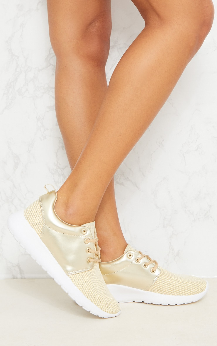 Gold Metallic Ribbed Trainers  1