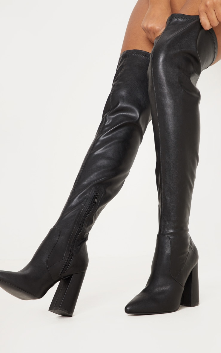 Black Block Heel PU Thigh High Boot 1
