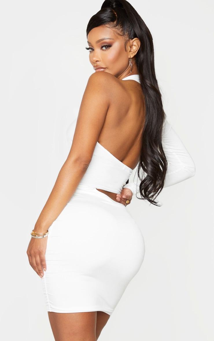 Shape White Slinky Cut Out One Sleeve Bodycon Dress 2