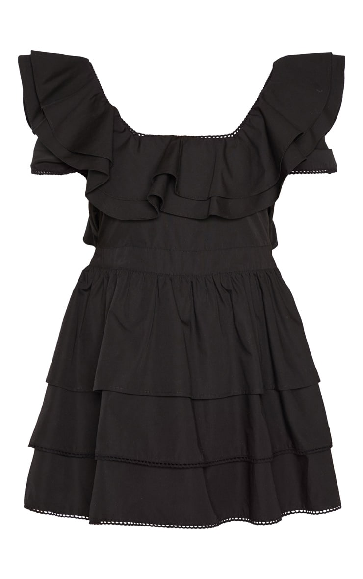 Petite Black Square Neck Tiered Frill Dress 3