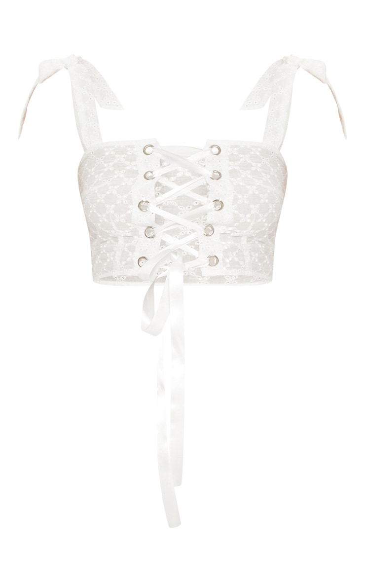 White Broderie Anglaise Lace Up Crop Top 3
