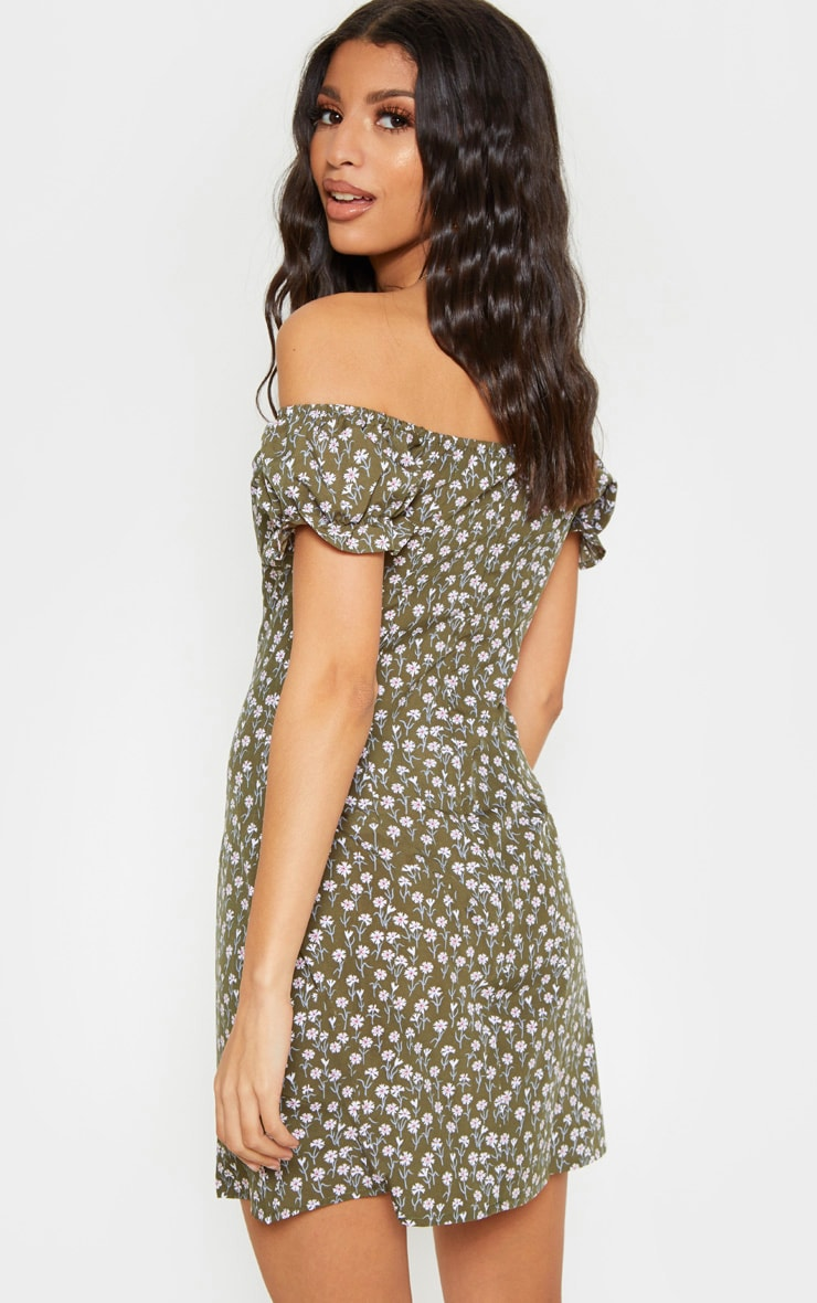 Green Floral Tie Bardot Shift Dress 2