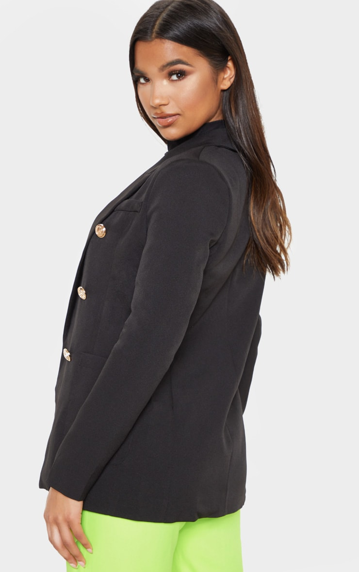 Pari Black Double Breasted Military Style Blazer 2
