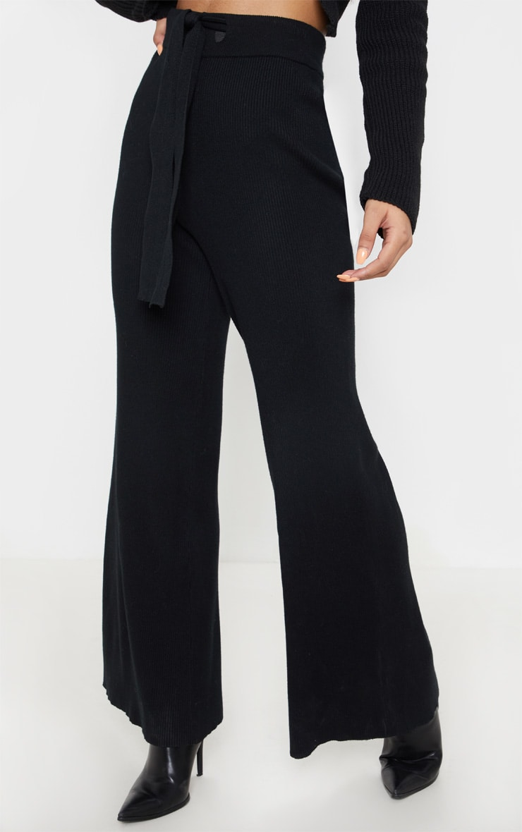 Black Ribbed Knitted Wide Leg Pants 2