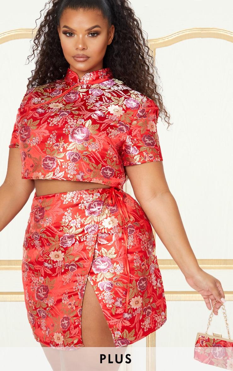 Plus Red Oriental Wrap Detail Mini Skirt 1
