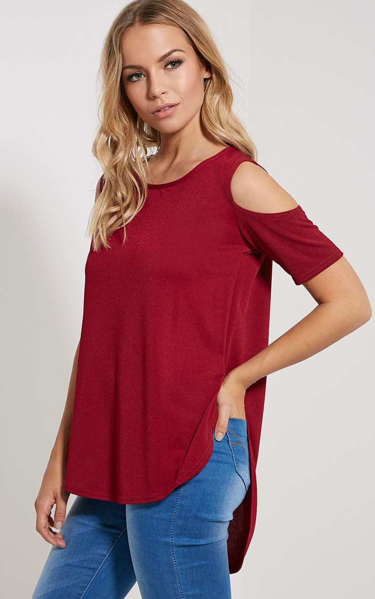 Eugene Wine Cold Shoulder Crepe Drop Hem Top 4