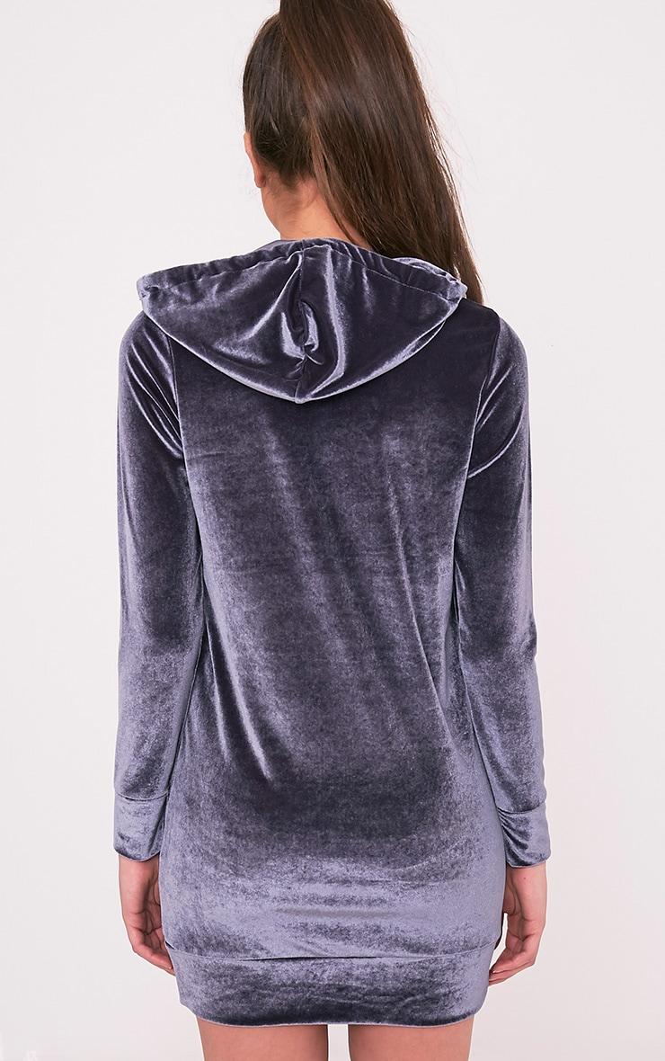 Harmanie Ice Grey Velvet Hooded Dress 2