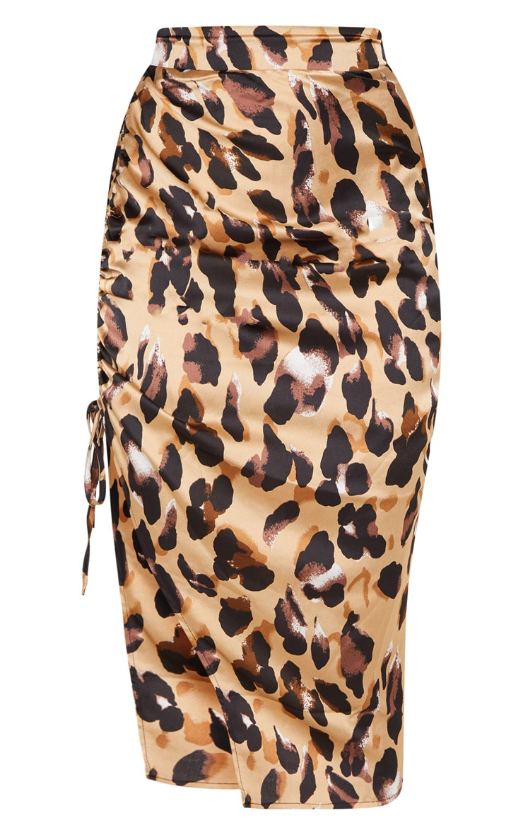Leopard Print Satin Printed Ruched Side Midi Skirt 3