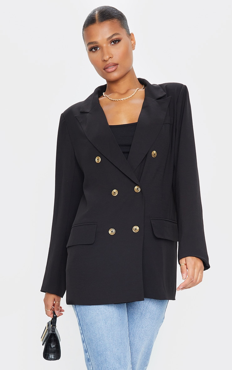 Black Shoulder Padded Woven Blazer 1
