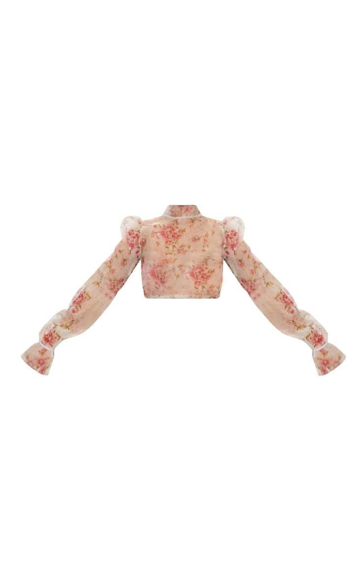 White Tie Back Floral Print Organza Crop Top 5