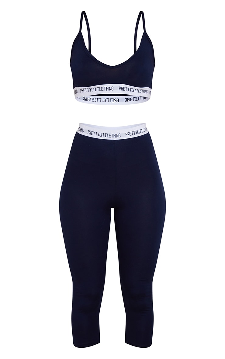 PRETTYLITTLETHING Navy Bralet And Crop Legging Set 5