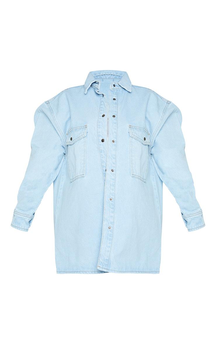 Petite Light Wash Oversize Denim Boyfriend Shirt 5