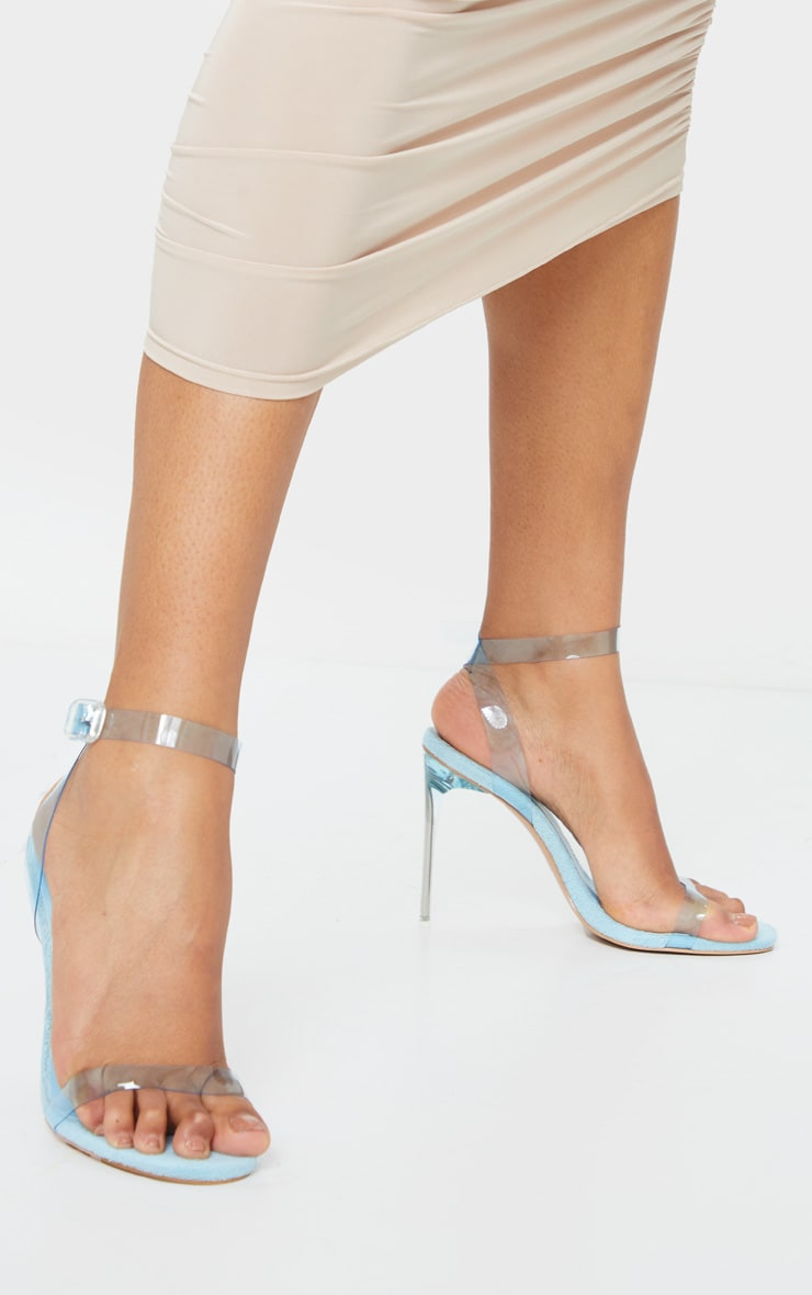 Blue Toweling Clear Strap High Heel 1