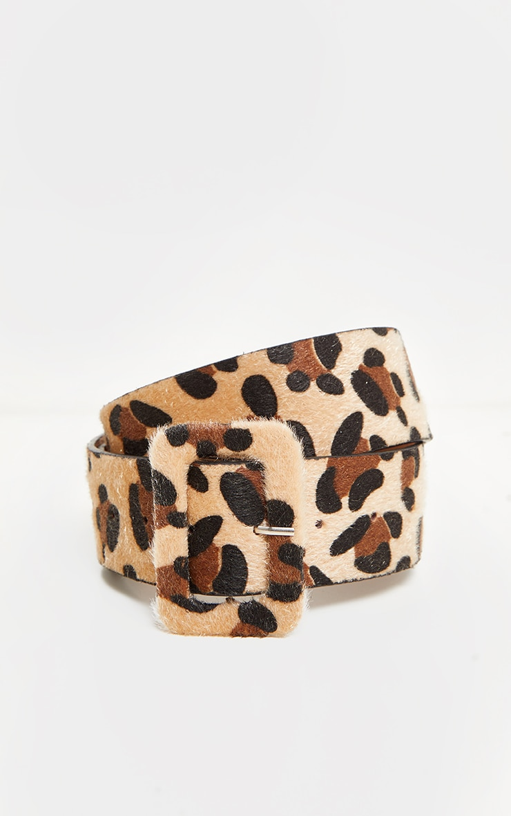 Leopard Faux Pony Hair Covered Buckle Belt 2