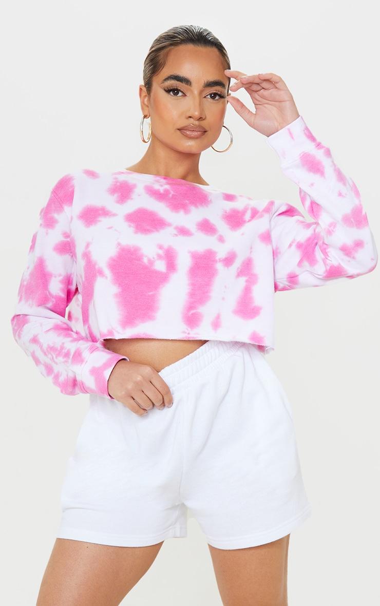 Petite Hot Pink Acid Wash Cropped Sweatshirt 1