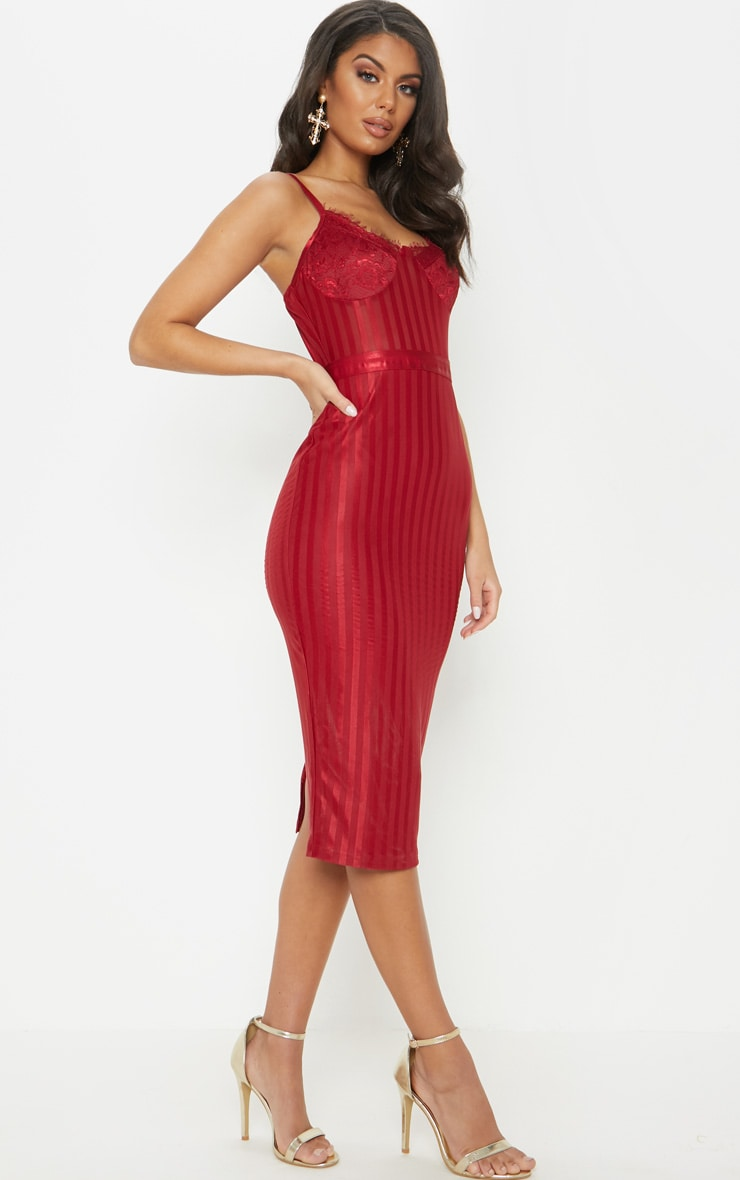 Deep Red Lace Detail Striped Mesh Midi Dress 1