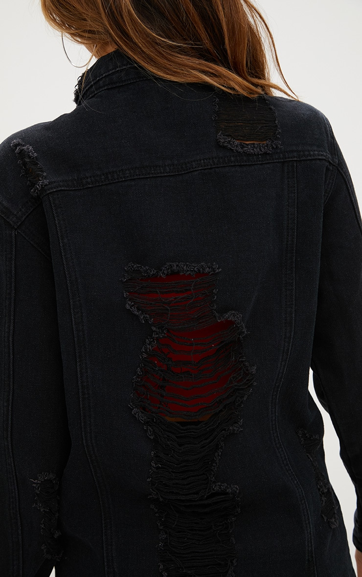 Black Denim Distressed Longline Jacket 5