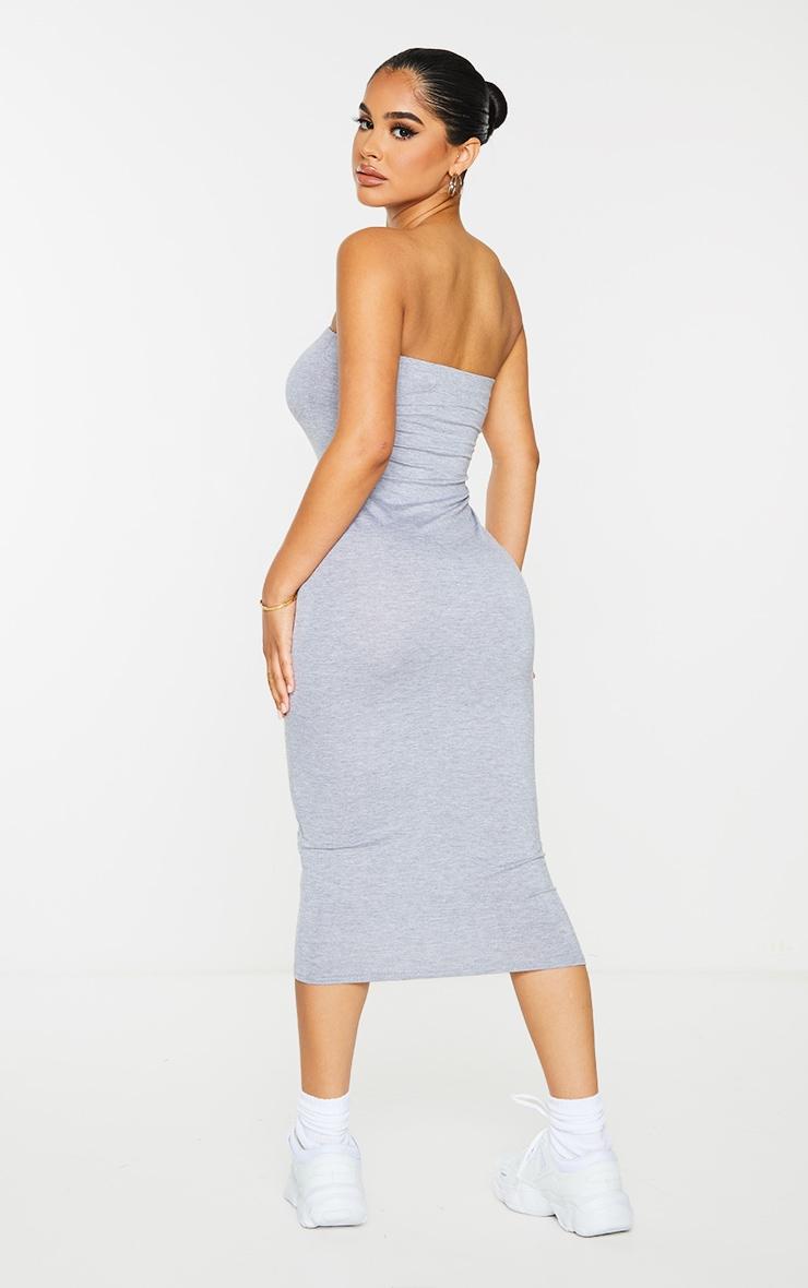Petite Grey Marl Bandeau Jersey Midi Dress 2