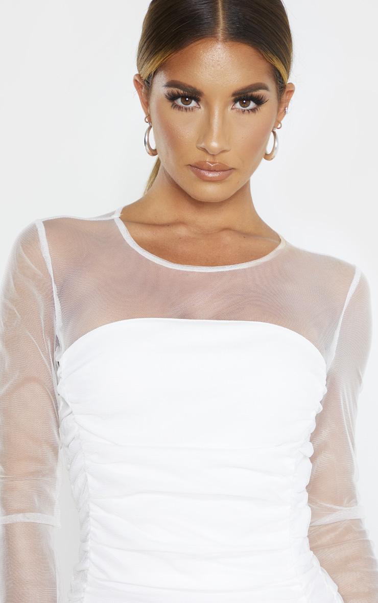 White Mesh Insert Ruched Frill Hem Bodycon Dress 5