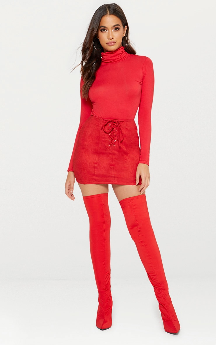 Red Faux Suede Seam Detail Lace Up Mini Skirt 5